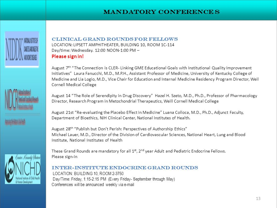 Mandatory conference s