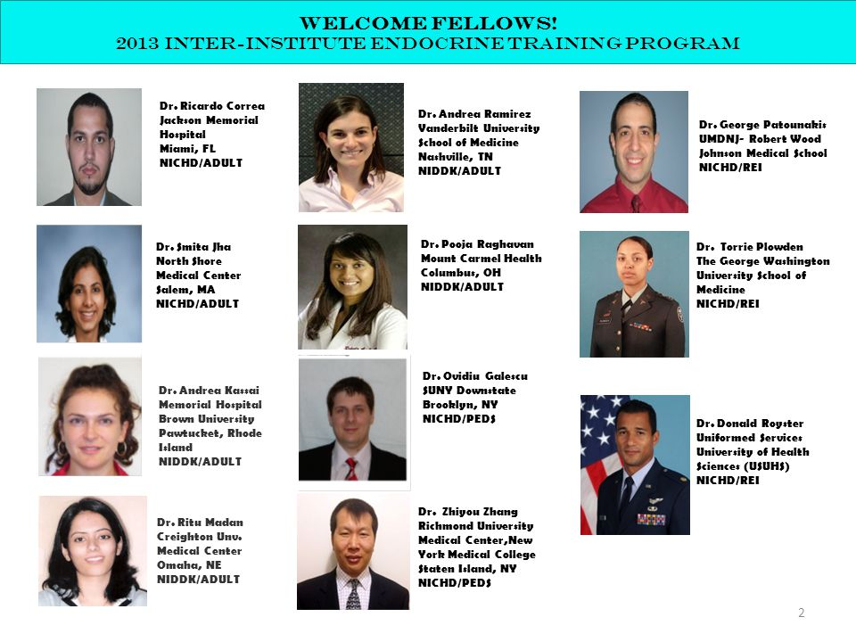 Welcome fellows! 2013 inter-institute endocrine training program