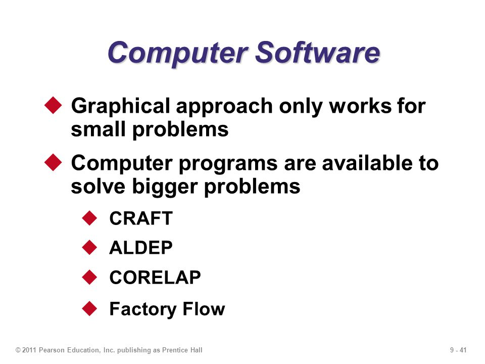 Computer Software Graphical approach only works for small problems