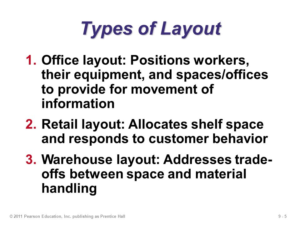 Types of Layout Office layout: Positions workers, their equipment, and spaces/offices to provide for movement of information.