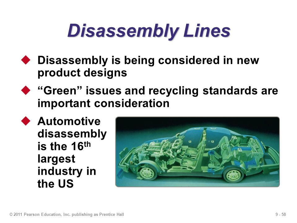 Disassembly Lines Disassembly is being considered in new product designs. Green issues and recycling standards are important consideration.