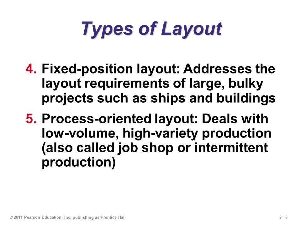 Types of Layout Fixed-position layout: Addresses the layout requirements of large, bulky projects such as ships and buildings.