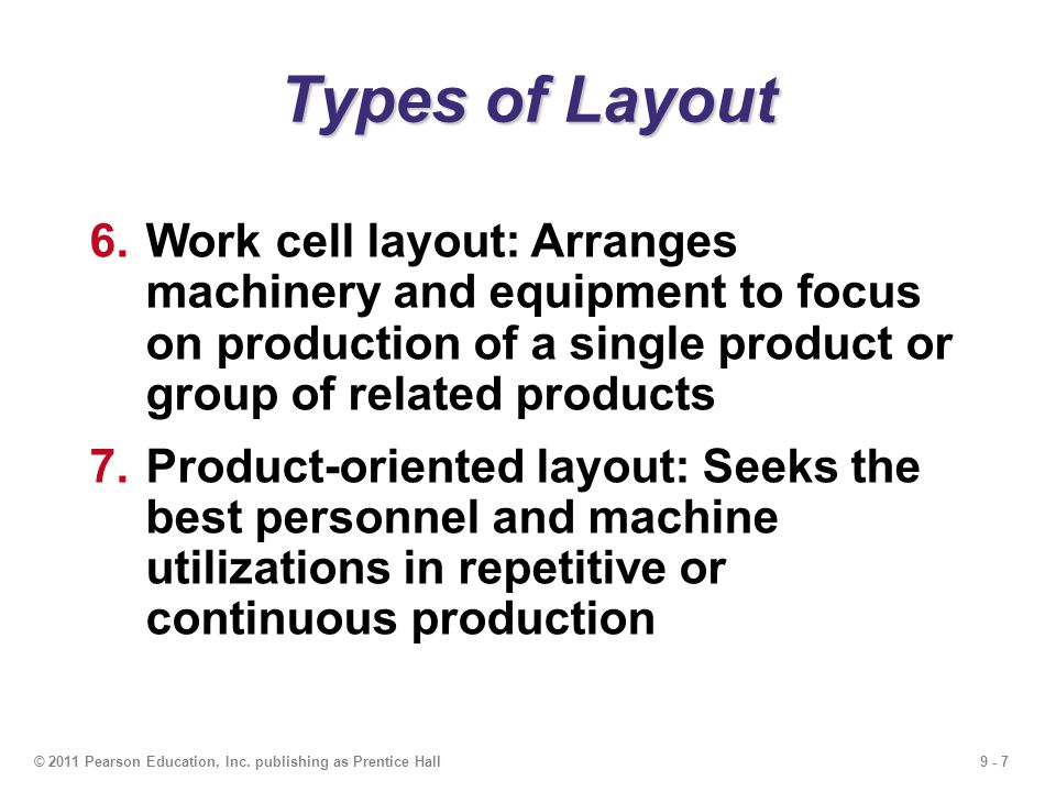 Types of Layout Work cell layout: Arranges machinery and equipment to focus on production of a single product or group of related products.
