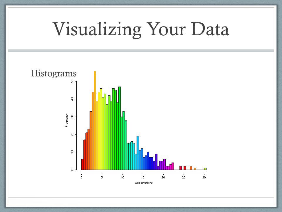 Visualizing Your Data Histograms