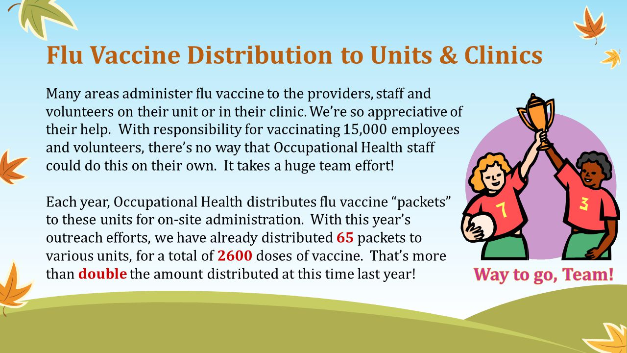 Flu Vaccine Distribution to Units & Clinics