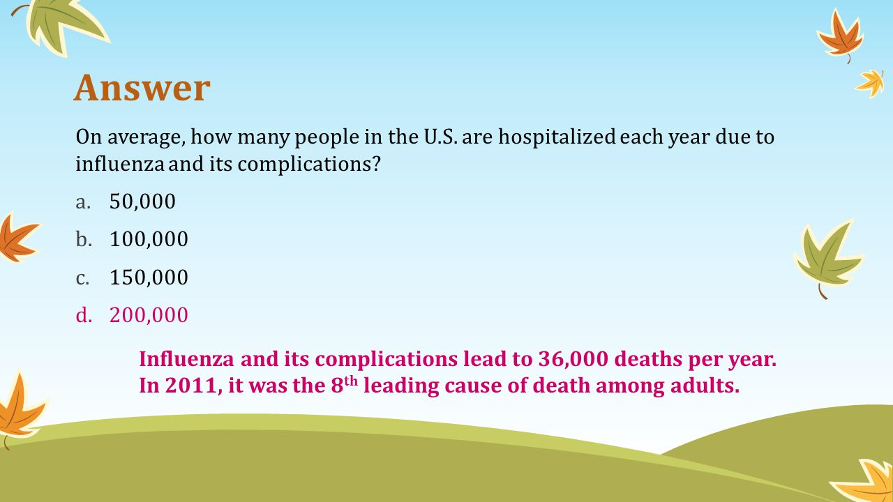 Answer On average, how many people in the U.S. are hospitalized each year due to influenza and its complications