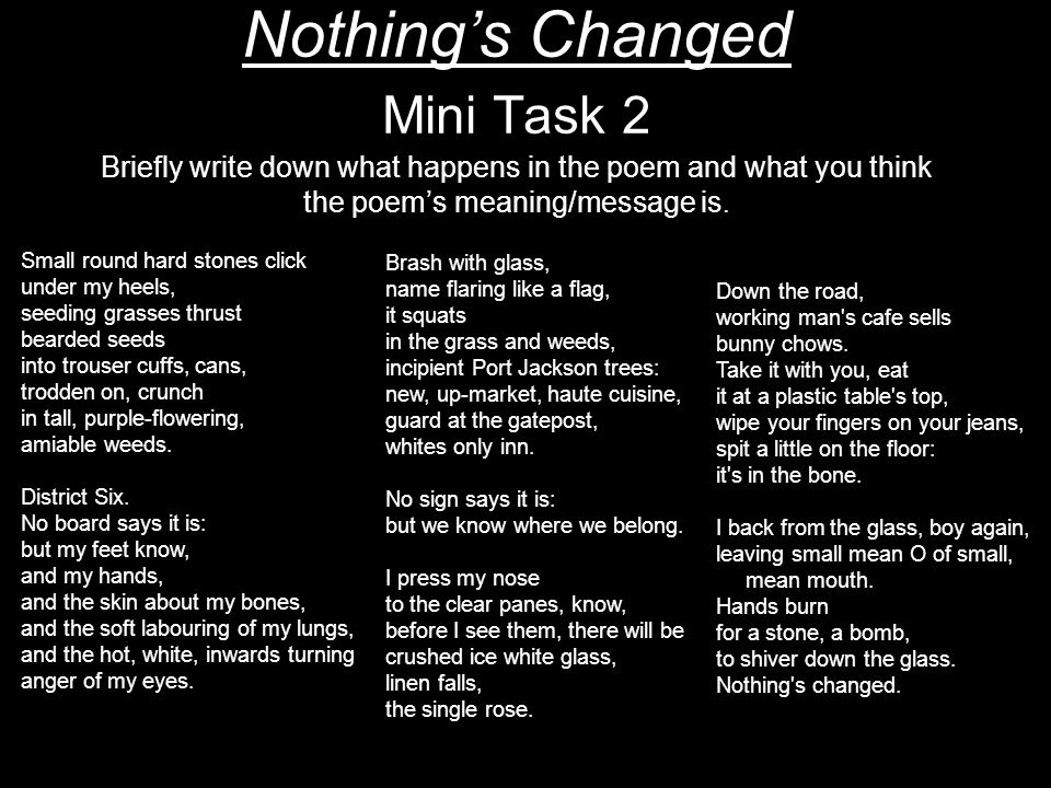 Nothing's Changed Mini Task 2 Briefly write down what happens in the poem and what you think the poem's meaning/message is.