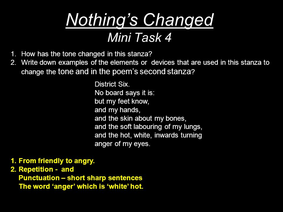 Nothing's Changed Mini Task 4