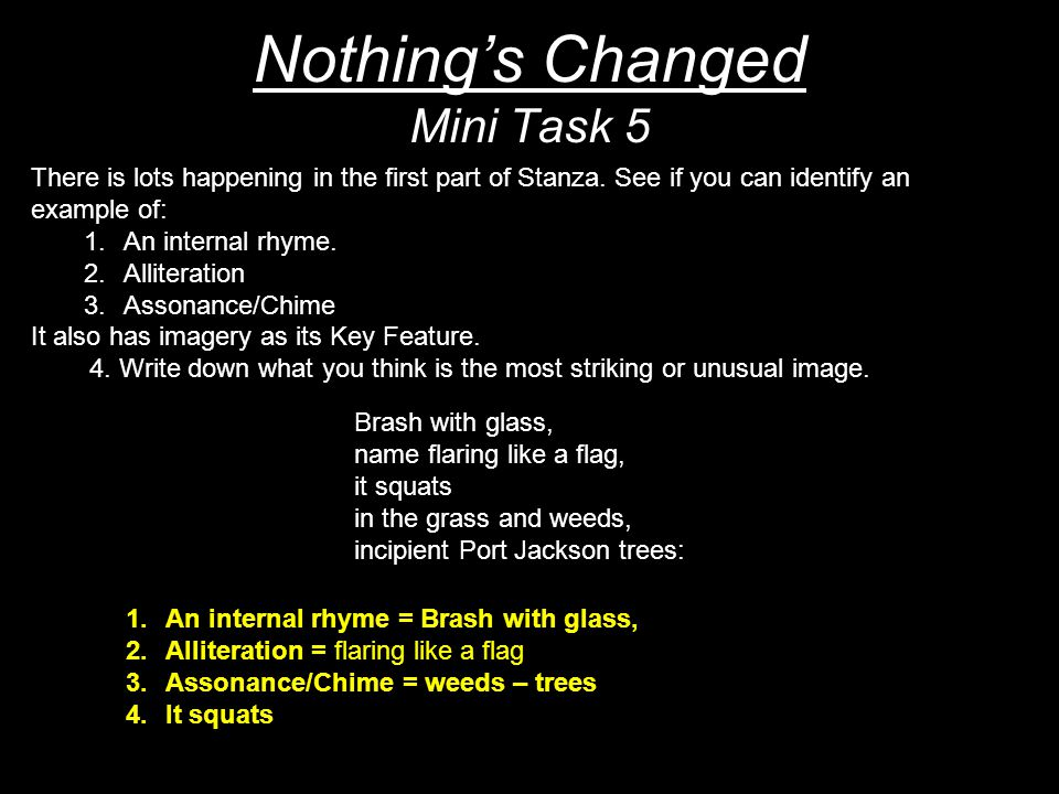 Nothing's Changed Mini Task 5