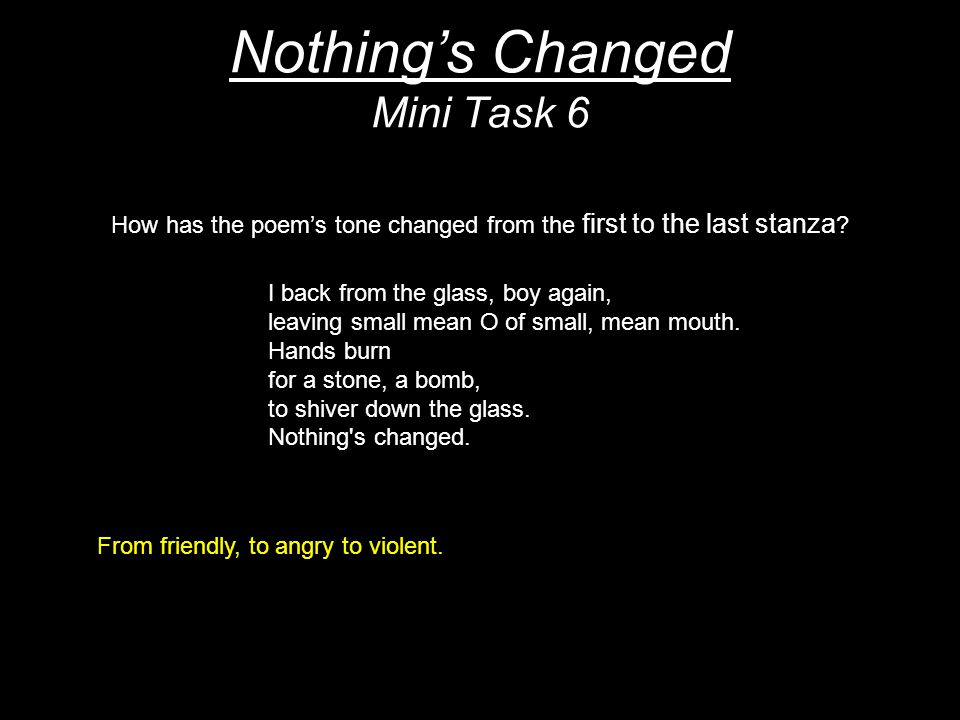 Nothing's Changed Mini Task 6 How has the poem's tone changed from the first to the last stanza