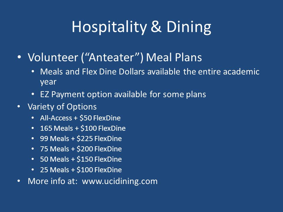Hospitality & Dining Volunteer ( Anteater ) Meal Plans
