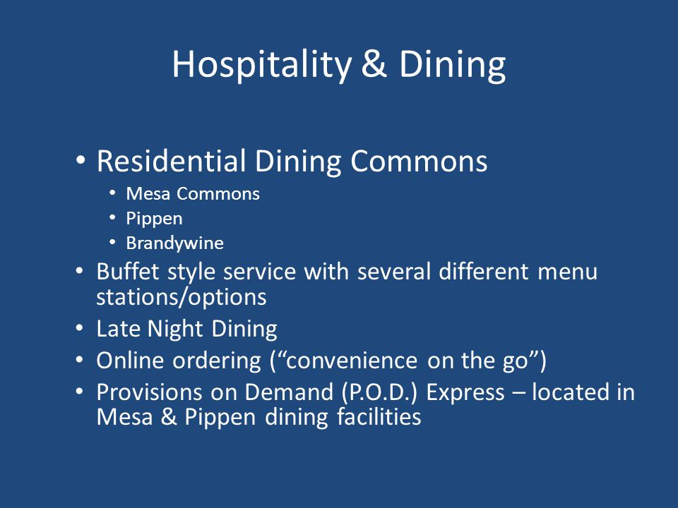 Hospitality & Dining Residential Dining Commons