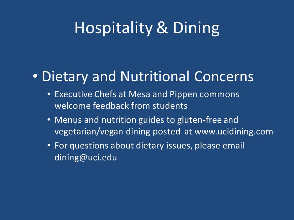 Hospitality & Dining Dietary and Nutritional Concerns