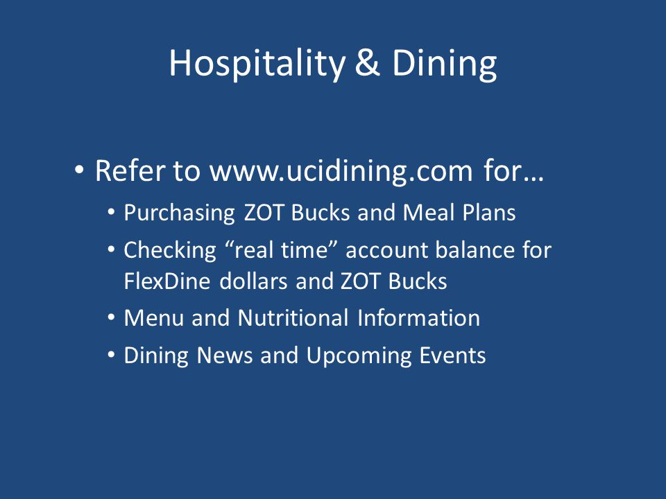 Hospitality & Dining Refer to www.ucidining.com for…