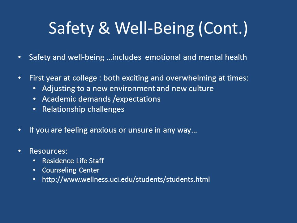 Safety & Well-Being (Cont.)