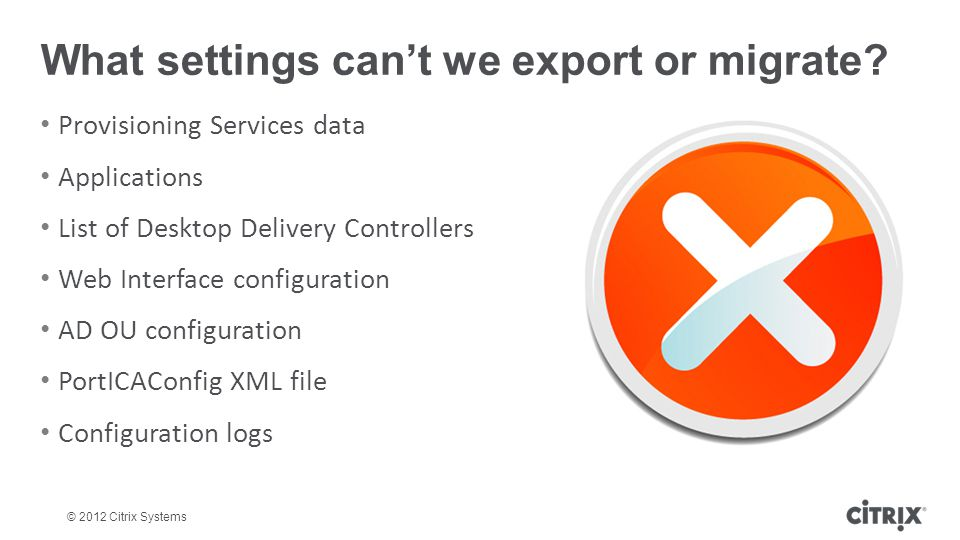 What settings can't we export or migrate