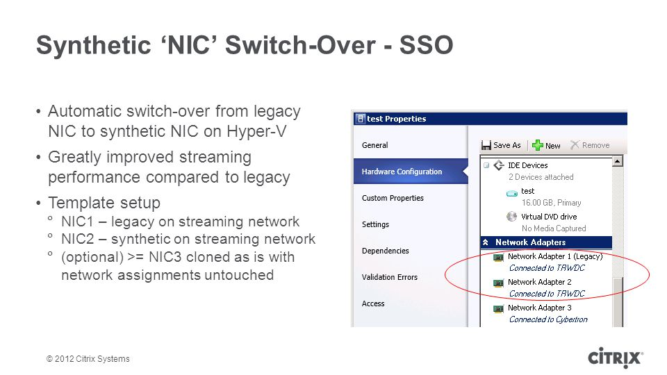 Synthetic 'NIC' Switch-Over - SSO