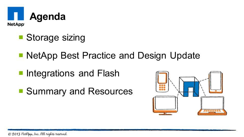 Agenda Storage sizing NetApp Best Practice and Design Update