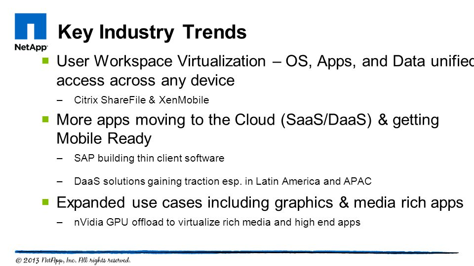 Key Industry Trends User Workspace Virtualization – OS, Apps, and Data unified access across any device.