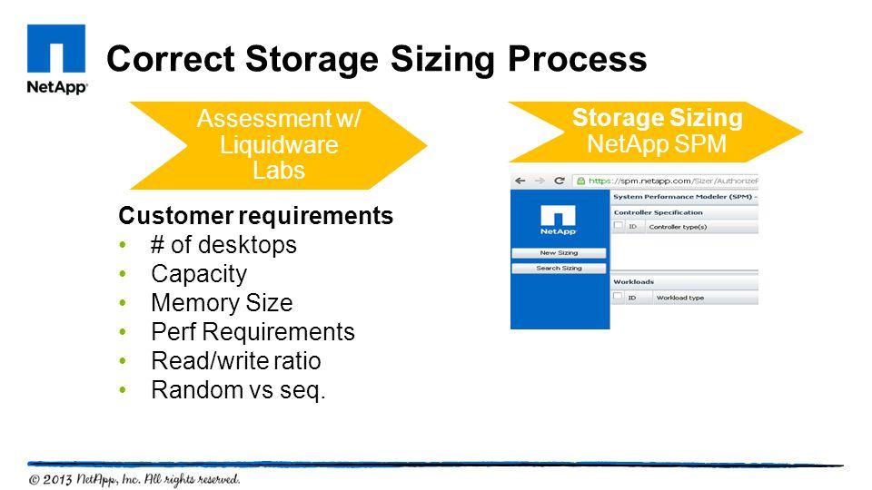 Correct Storage Sizing Process