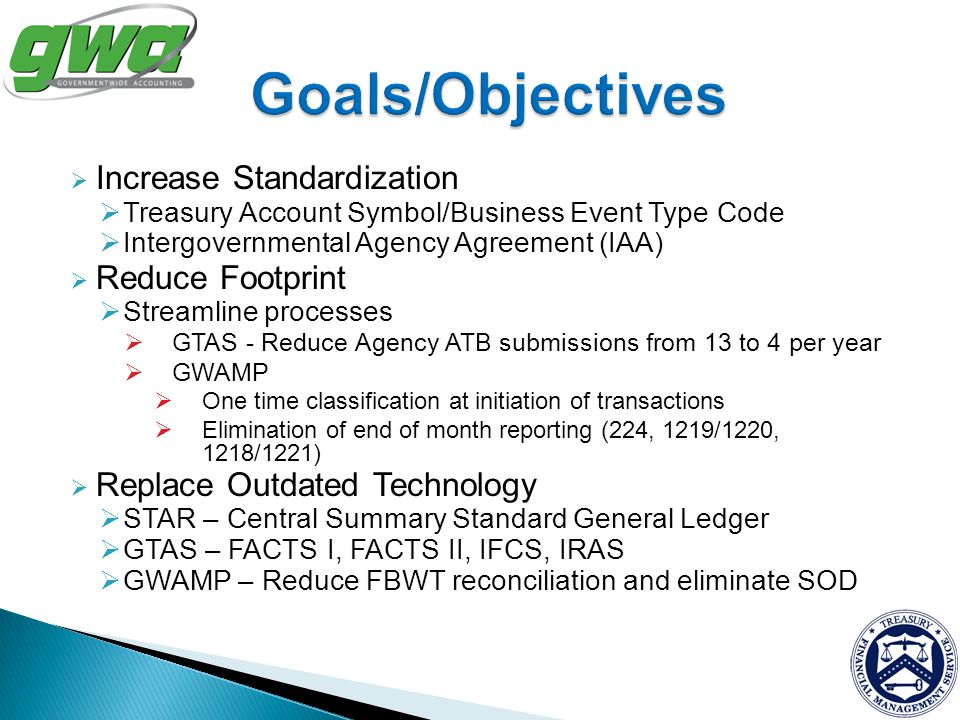 Goals/Objectives Increase Standardization Reduce Footprint