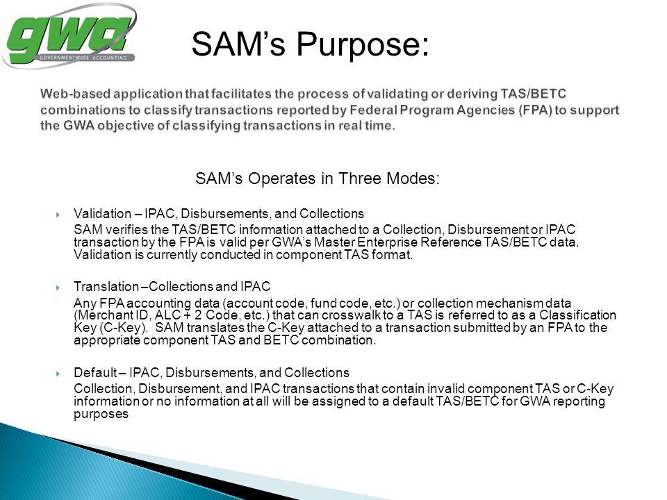 SAM's Operates in Three Modes: