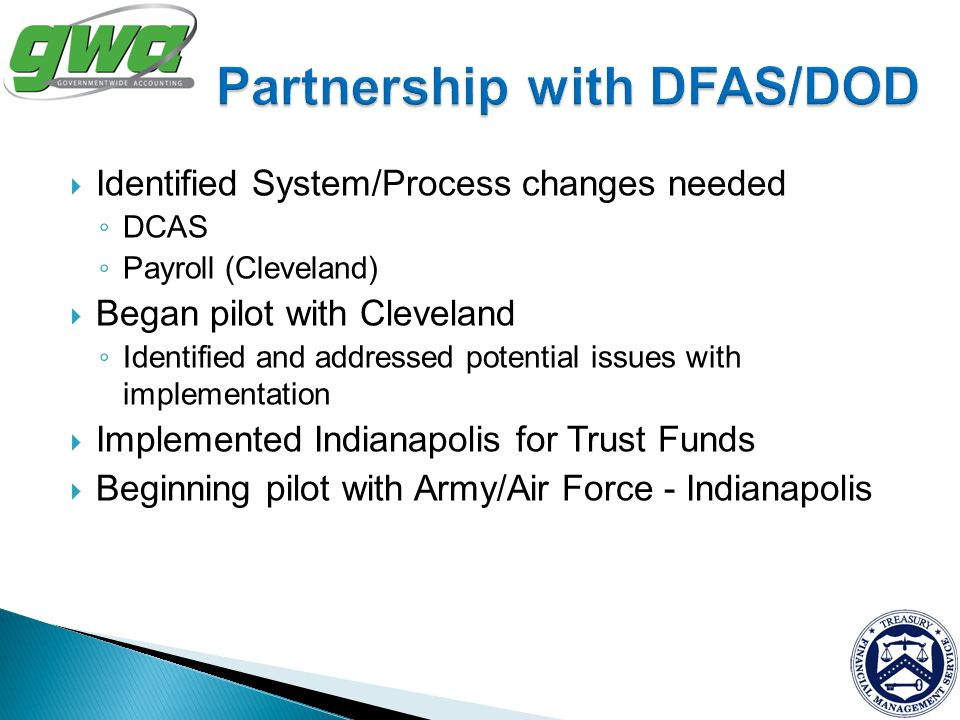 Partnership with DFAS/DOD