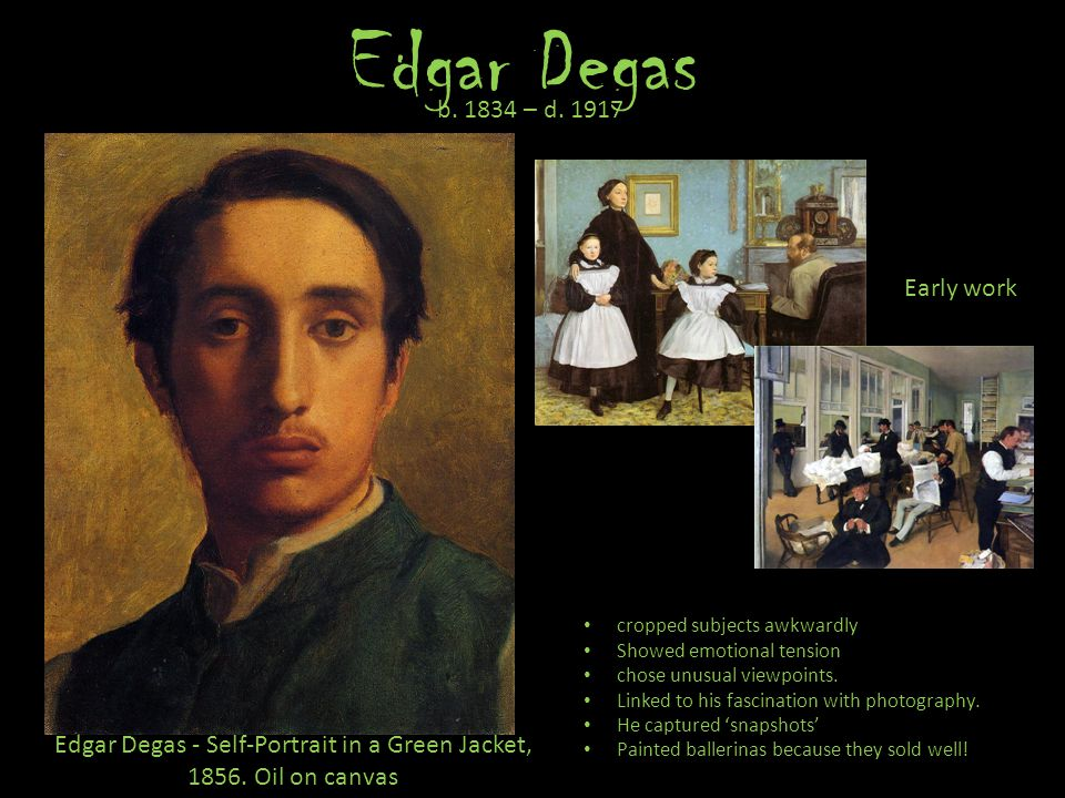 Edgar Degas - Self-Portrait in a Green Jacket, 1856. Oil on canvas