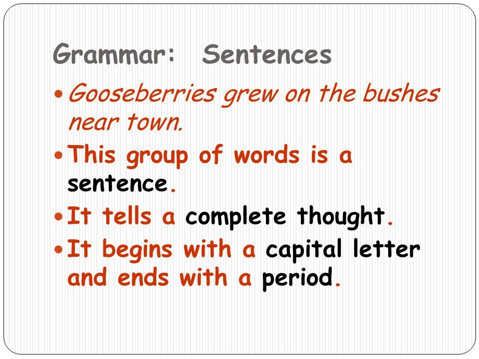 Grammar: Sentences Gooseberries grew on the bushes near town.