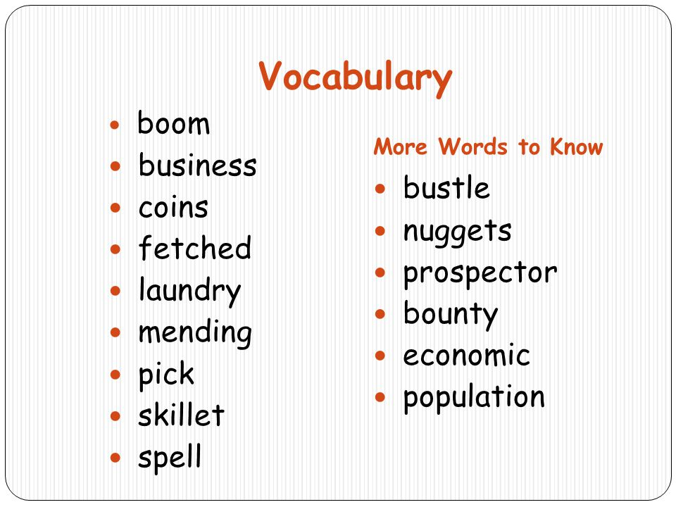 Vocabulary business coins fetched bustle laundry nuggets mending