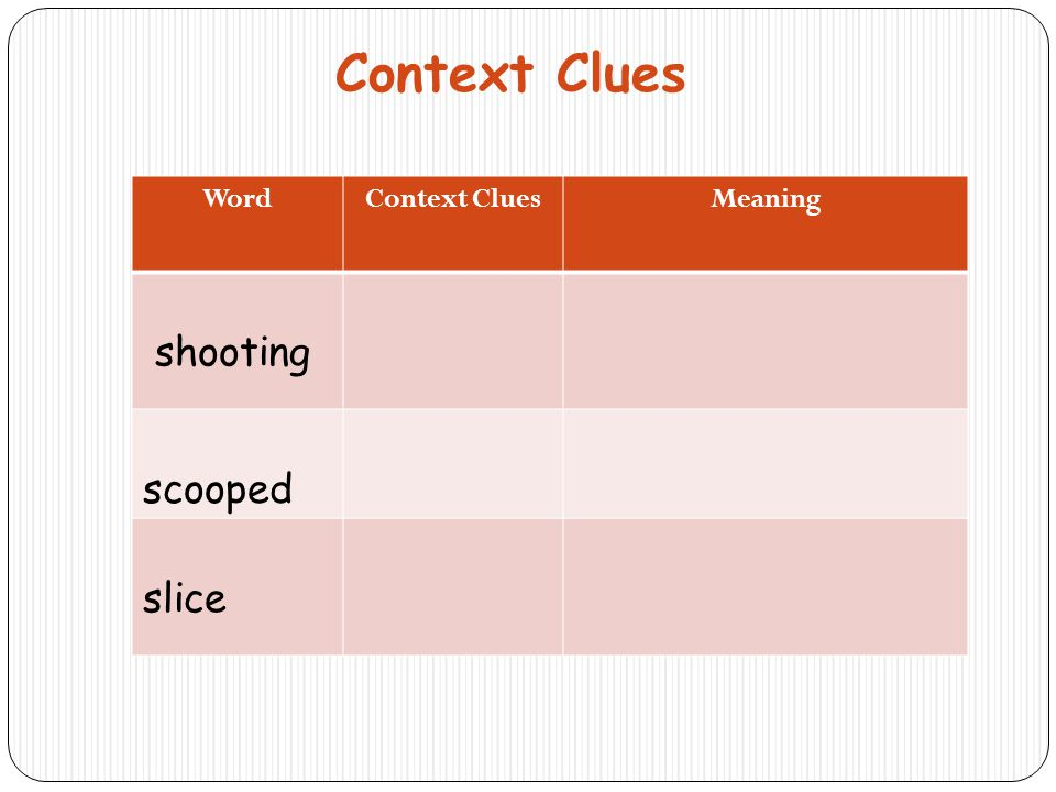 Context Clues Word Context Clues Meaning shooting scooped slice