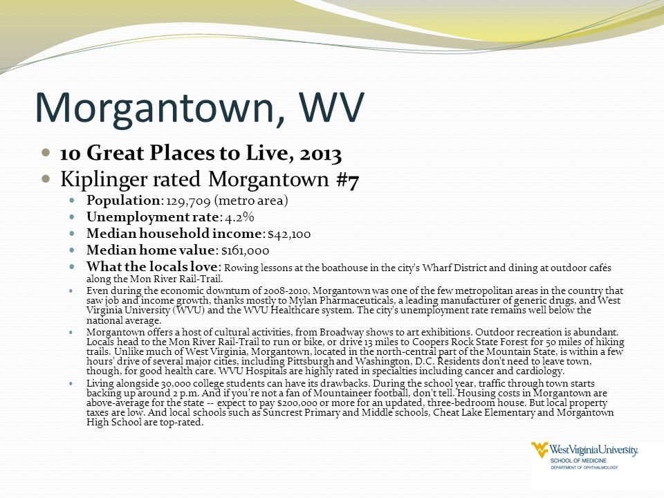 Morgantown, WV 10 Great Places to Live, 2013