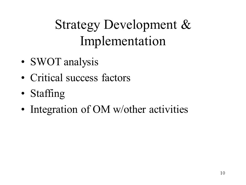 Strategy Development & Implementation