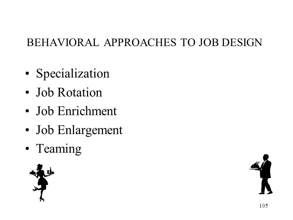 BEHAVIORAL APPROACHES TO JOB DESIGN