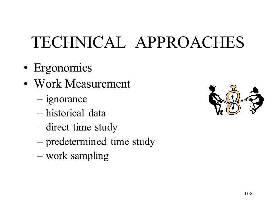 TECHNICAL APPROACHES Ergonomics Work Measurement ignorance