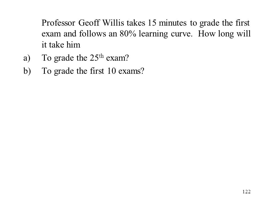 Professor Geoff Willis takes 15 minutes to grade the first exam and follows an 80% learning curve. How long will it take him