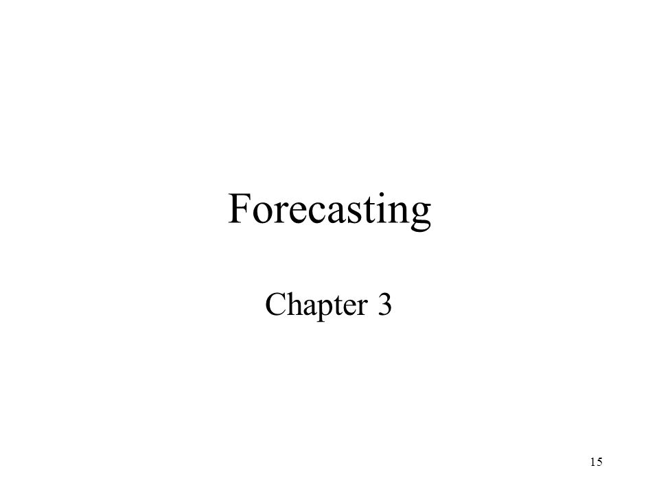 Forecasting Chapter 3
