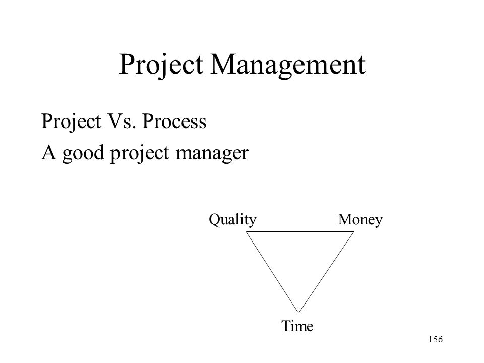 Project Management Project Vs. Process A good project manager Quality