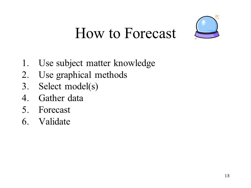 How to Forecast Use subject matter knowledge Use graphical methods