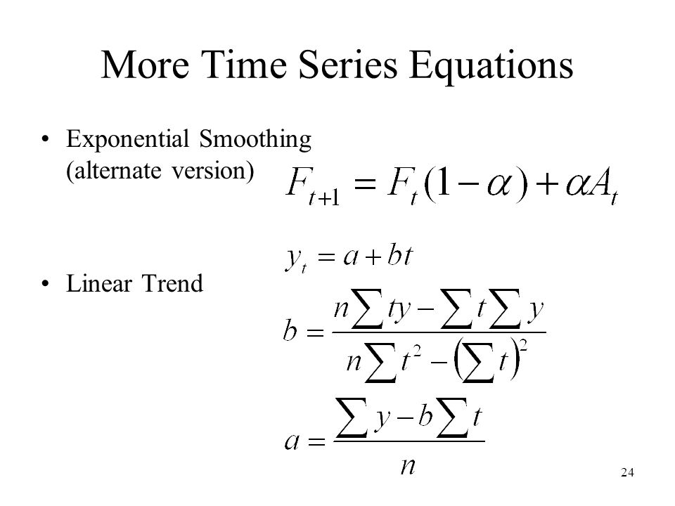 More Time Series Equations