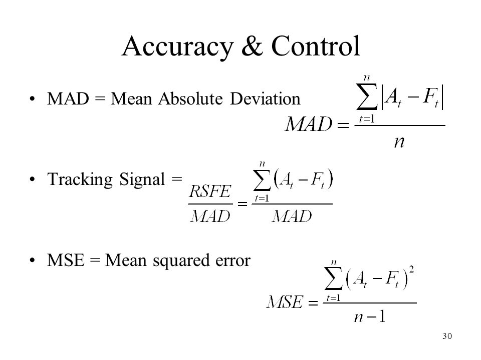 Accuracy & Control MAD = Mean Absolute Deviation Tracking Signal =