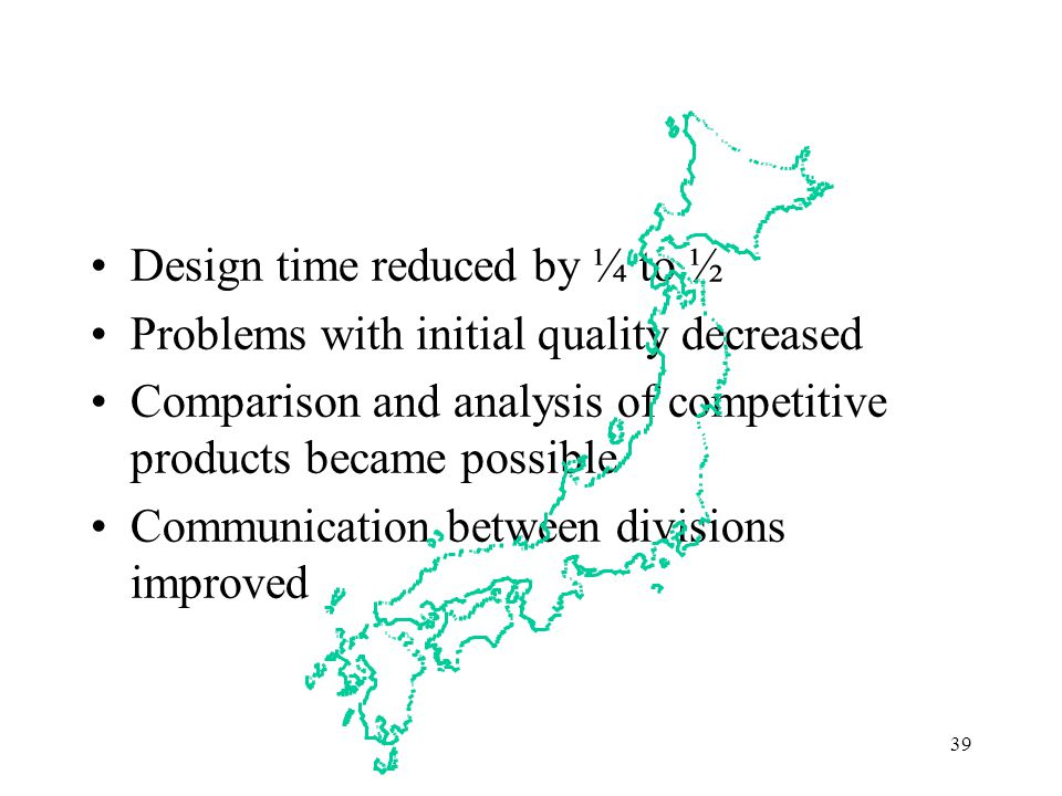 Japanese QFD Results Design time reduced by ¼ to ½
