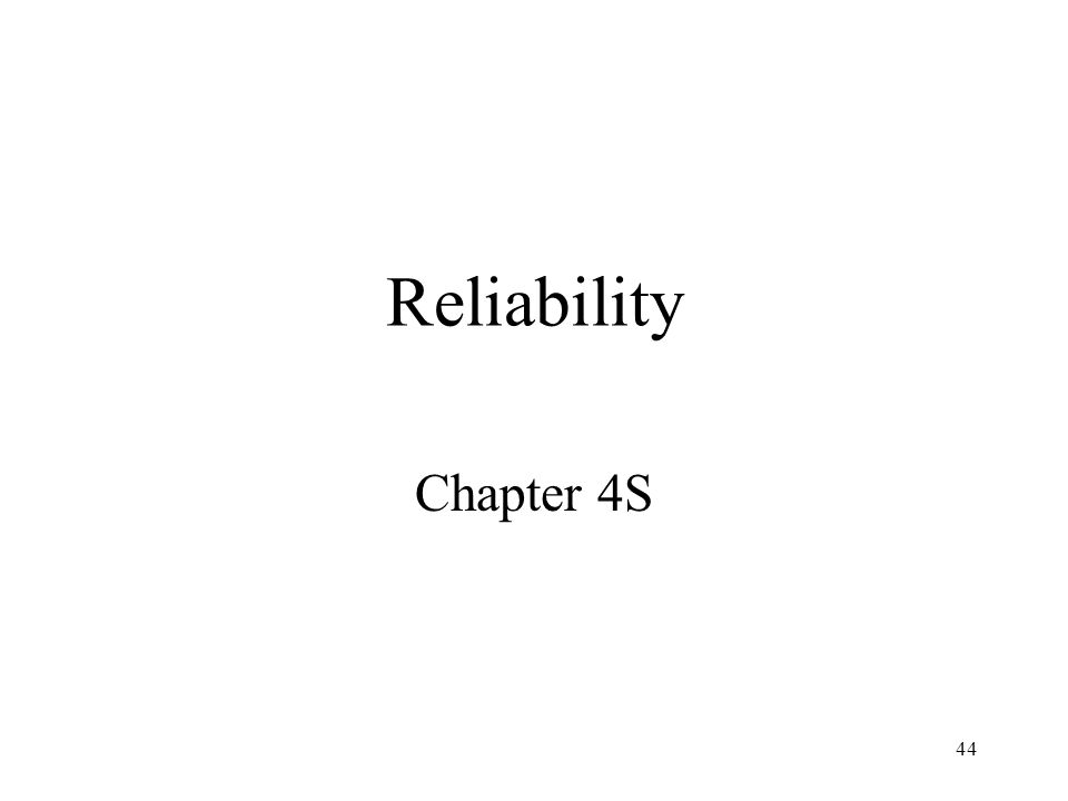 Reliability Chapter 4S
