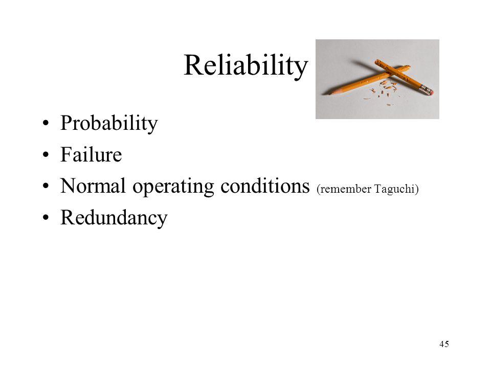 Reliability Probability Failure