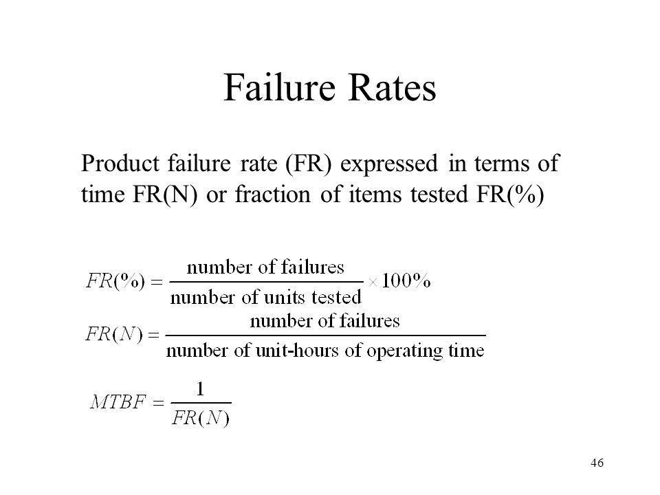 Failure Rates Product failure rate (FR) expressed in terms of time FR(N) or fraction of items tested FR(%)