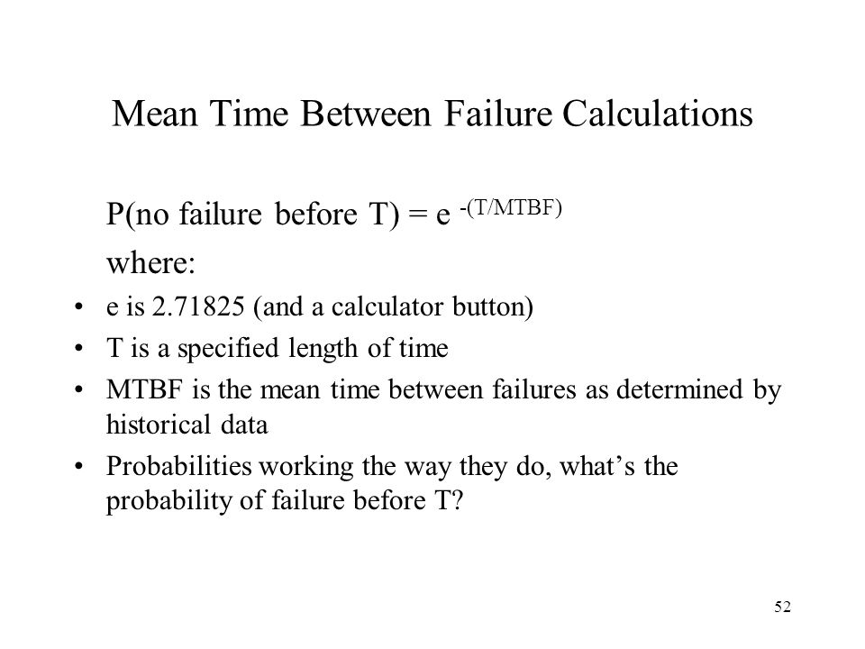 Mean Time Between Failure Calculations