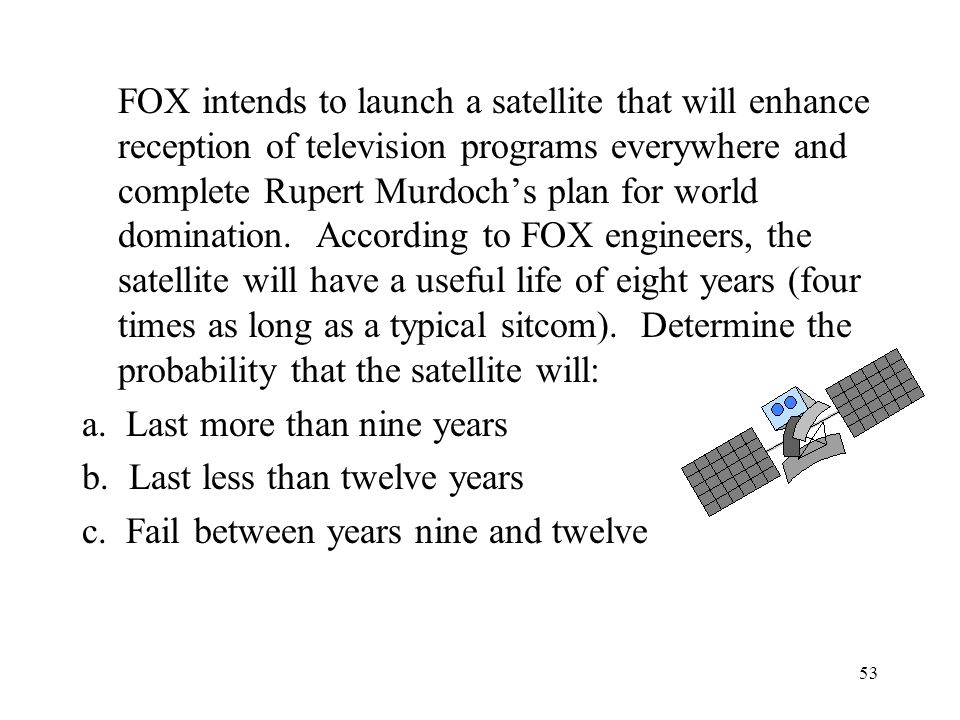 FOX intends to launch a satellite that will enhance reception of television programs everywhere and complete Rupert Murdoch's plan for world domination. According to FOX engineers, the satellite will have a useful life of eight years (four times as long as a typical sitcom). Determine the probability that the satellite will: