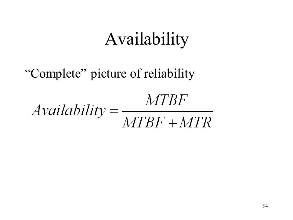 Availability Complete picture of reliability