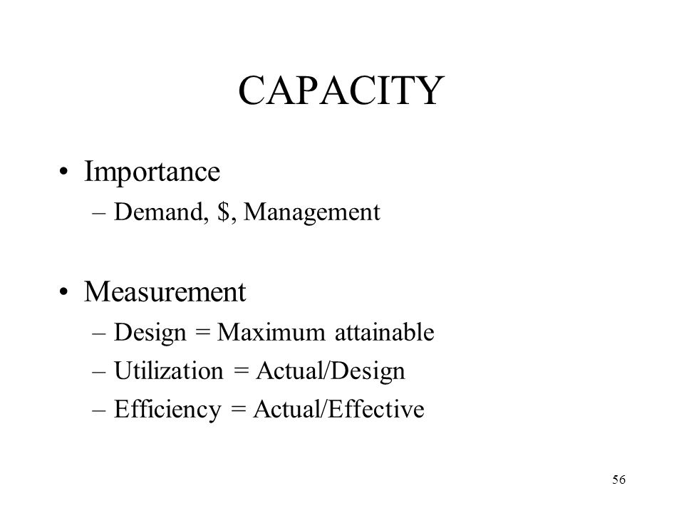 CAPACITY Importance Measurement Demand, $, Management