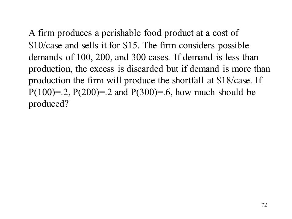 A firm produces a perishable food product at a cost of $10/case and sells it for $15.